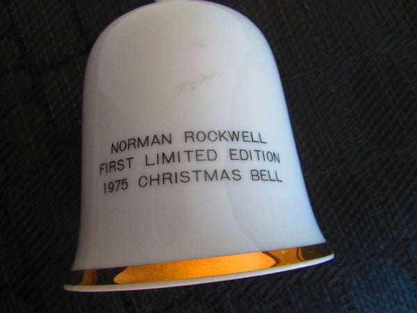 Christmas Norman Rockwell Bell// Santa Claus//Porcelain //1975//Limited Addition//Xmas Decor//White//Made in USA//Traditional Decor
