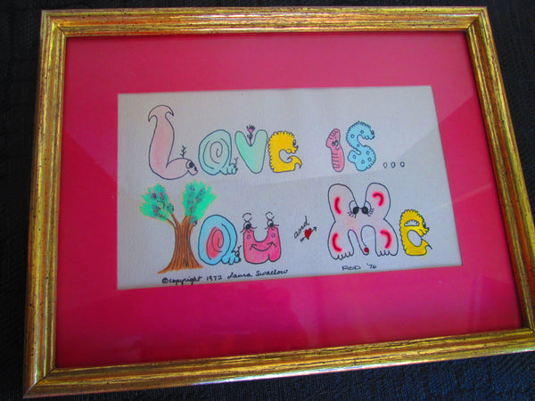 Retro Wall Decor//Love//Pink//1970s//Chicago//Handcrafted Wall Art//Love is//GenX Art//Baby's Room//Lover's Art