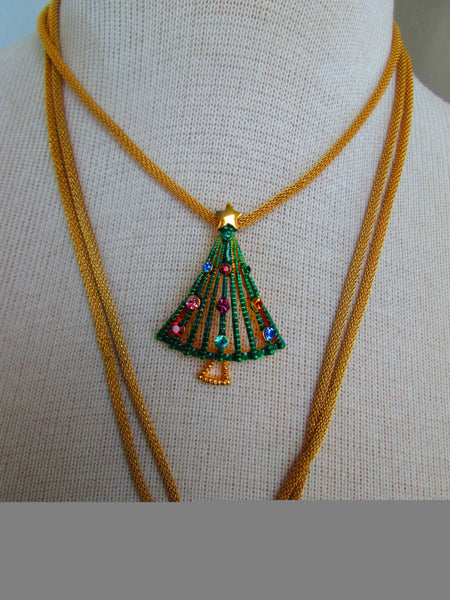 sale Christmas Tree Necklace// Vintage//Rhinestones//Gold//Gift for Her//Made in Chicago// Joy//Cheer//One of a Kind//Long Necklace