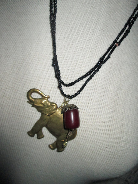 Elephant Necklace// Long// Vintage Beads// Made in Chicago// Gift for Her// Spiritual// Good Luck// Safari // Eastern// India