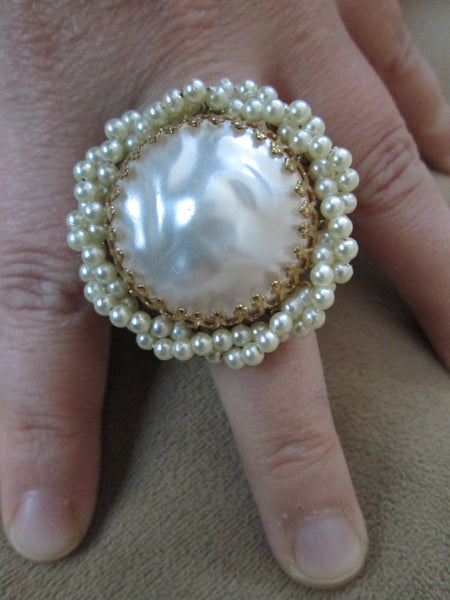 Large Faux Fresh Water Pearl and Antique Gold Ring// Adjustable// Made in Chicago // Statement// Vintage// Gift For Her// Eco Ring // Gift