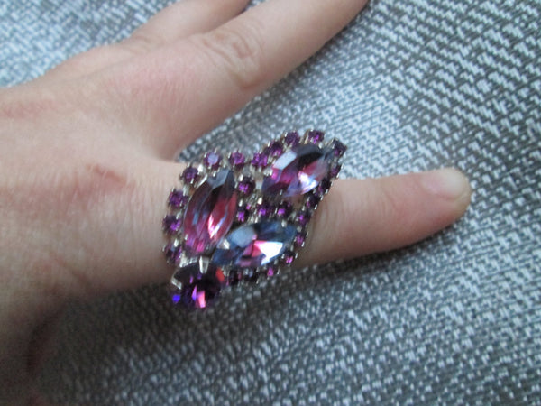 Rhinestone Statement Ring// Vintage // Adjustable// Purple // Leaf Motif// Bold// Made in Chicago// No Nickel // One Size Fits All// Gift