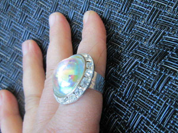 Iridescent Bubble with Rhinestone Ring// Adjustable// Rainbow// Regal// Upcycle Jewelry// Made in Chicago// One of A Kind// Unusual