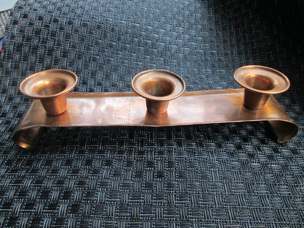 Copper Candlestick Holder// Leland Drumgold // Holds 3 Candles // 1940s// Home Decor// Xmas Decor// Wedding Gift// HandCrafted// Mantel