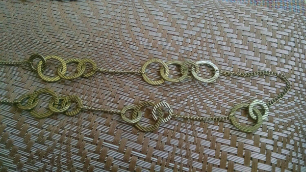 sale Gold Multiple Circle Necklace// Vintage // Long // Hippie Chic // Boho Jewelry// Gold // Runway Chic// Gipsy Necklace// Circles