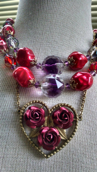 Double Strand Vintage Necklace// Red Beads // purple crystal// Fall 2016 // Gift for Her// Czech Made// 1940 jewelry// Estate Sale // Cool