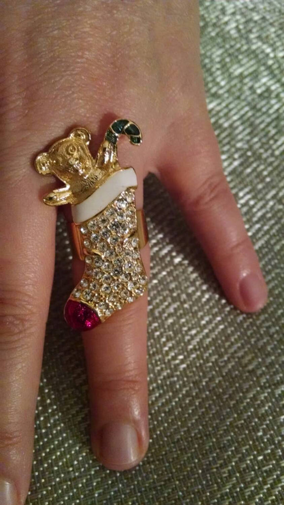 Christmas Stocking Ring // Vintage //Rhinestones// Xmas Gift// Holiday Fashion// Made in USA // Adjustable // One of a Kind