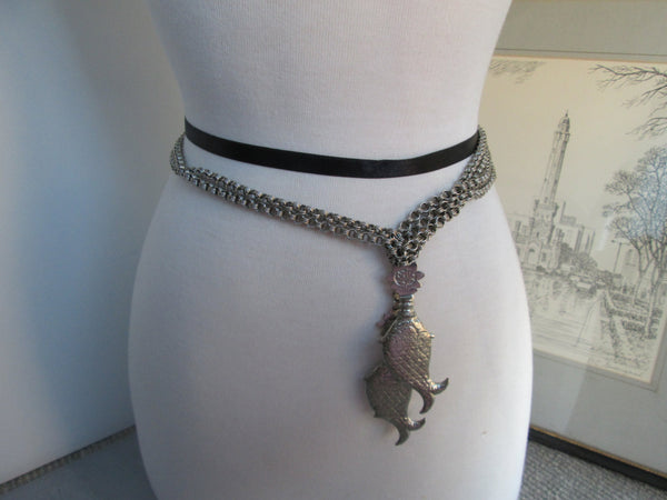 chain belt//Two Silver Fish on a Chain Belt // Vintage Belt // Adjustable // Boho Chic// Fashion Belt // Chain Belt // Necklace too // Gift