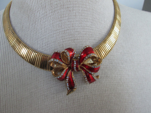 valentines day Bow with a Gold Choker Necklace // Vintage // Gift for Her// Gift// ladylike// made in chicago