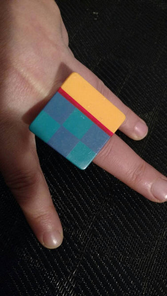 Square ring// colorful ring// upcycled ring// one of a kind// gift for her // ring// fashion jewelry// boho chic ring // playful