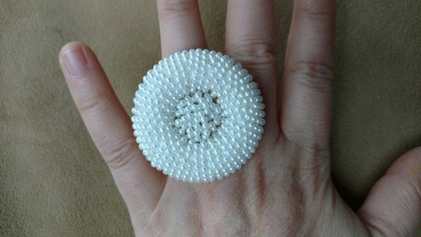 sale  ring// adjustable ring // mini pearls // vintage button // upcycled ring // mod ring // gift for her // big white round ring//fun