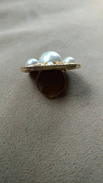 sale Gold ring// pearl// adjustable// big // gift for her // square big ring// preppy// upcycled// jewellery// handmade// unusual ring