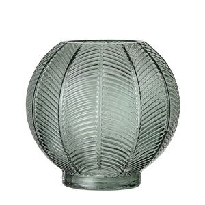 Bloomingville Votive/Vase - Glass - Green - Leaf Design