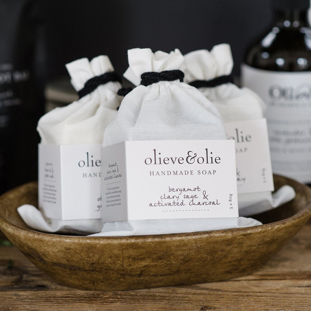 Olieve & Olie Handmade Soap - Bergamot, Clary Sage and Activated Charcoal