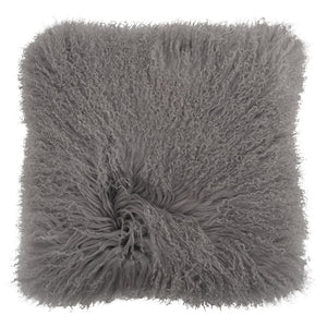 Mongolian Sheepskin Cushion - 50cm Square - Grey