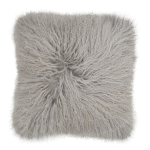Mongolian Sheepskin Cushion - 50cm Square - Light Grey