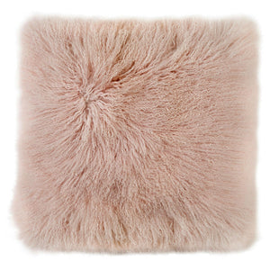 Mongolian Sheepskin Cushion - 50cm Square - Blush