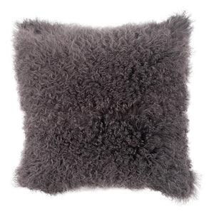 Mongolian Sheepskin Cushion - 50cm Square - Charcoal