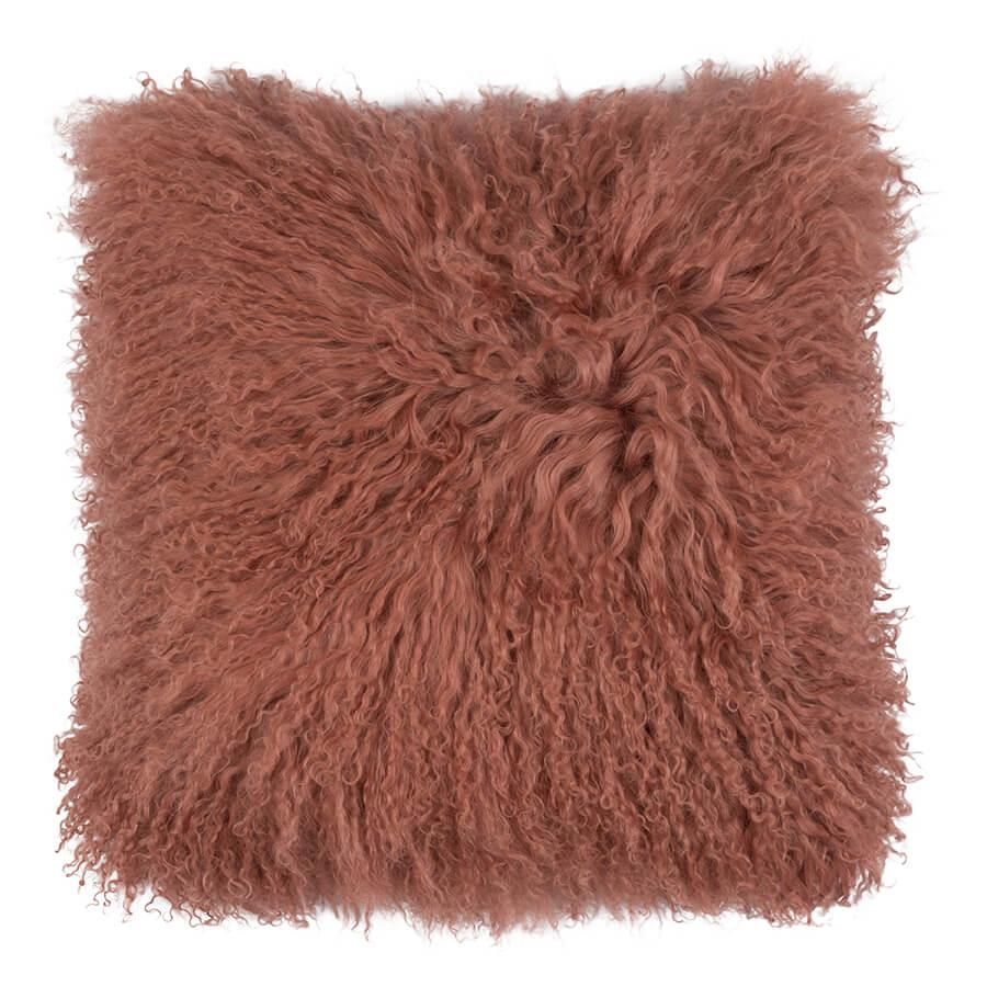 Mongolian Sheepskin Cushion - 40cm Square - Deep Coral