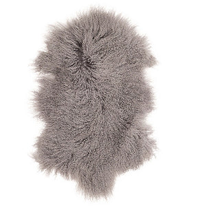 Mongolian Sheepskin Throw - Light Grey