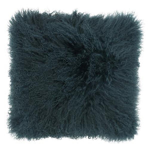 Mongolian Sheepskin Cushion - 50cm Square - Moss/Deep Teal