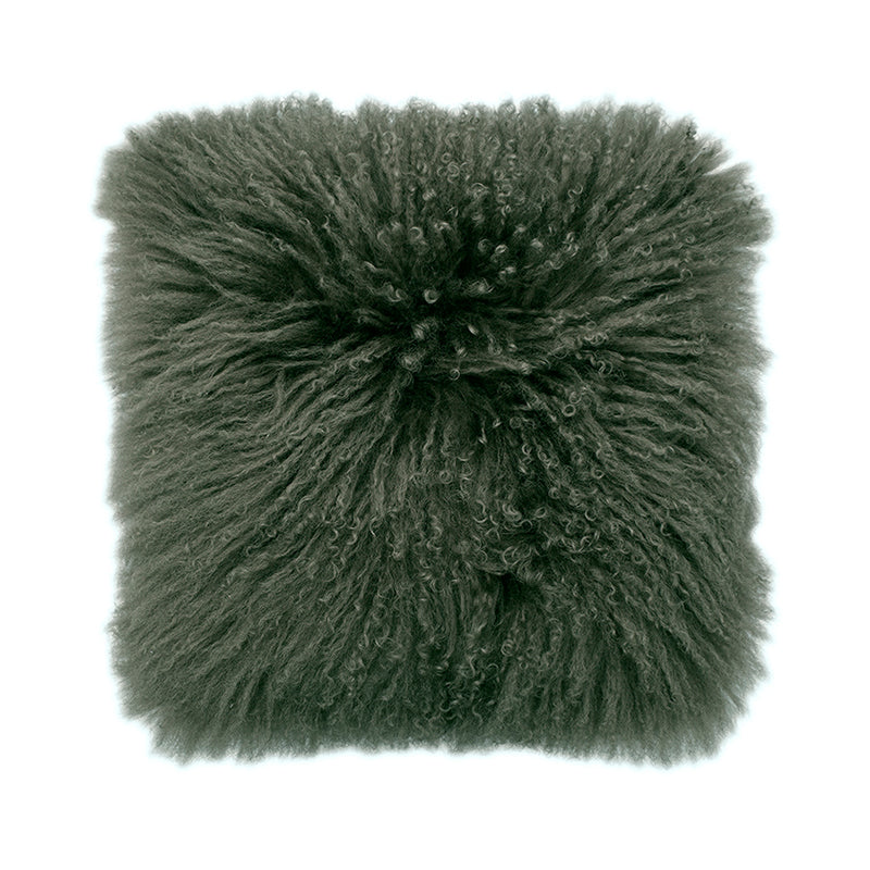 Mongolian Sheepskin Cushion - 50cm Square - Olive
