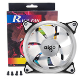 AigoDIYAigo Halo LED 120mm 12cm PC CPU Computer Case Cooling Neon Quite Clear Fan Mod 4 Pin/3 Pin (2 Pack White)