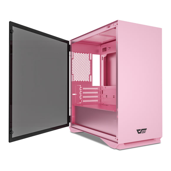 darkFlash Micro ATX Mini ITX Tower MicroATX Computer Case with Door Opening Tempered Glass Side Panel (DLM22 Pink)