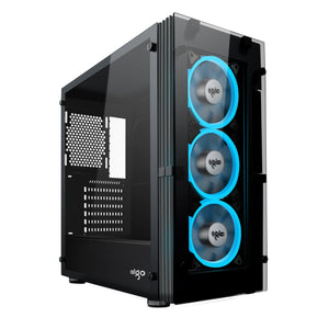 Aigo ATLANTIS Mid-Tower Computer Gaming Case with 3 LED Ice Blue Ring Fans