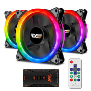 darkFlash Aurora DR12 Pro 3-Pack Addressable 120mm RGB LED Case Fan Kit Compatible with ASUS Aura Sync High Performance Speed Controllable Colorful Fans with Controller and Remote