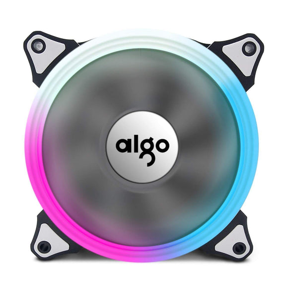 Aigo 120mm 12cm Aurora Halo Ring RGB LED Adjustable Color Cooling Fan for Computer Cases, CPU Coolers and Radiators