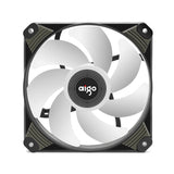 Aigo Icy 120mm 12cm Purple LED Case Fan Hybrid-Design for Computer Cases, CPU Coolers, and Radiators