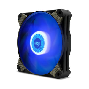 Aigo Icy 120mm 12cm Blue LED Case Fan Hybrid-Design for Computer Cases, CPU Coolers, and Radiators