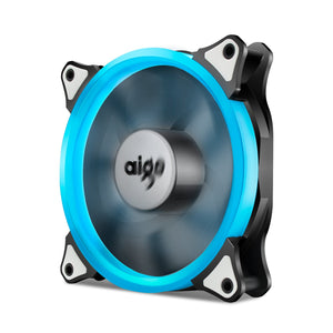 Aigo 120mm 12cm Halo Ring Ice Blue LED Fan for Computer Cases, CPU Coolers and Radiators