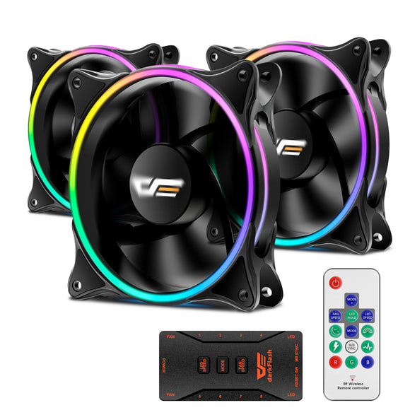 darkFlash MR12 3IN1 120mm RGB LED Case Fan for PC Cases CPU Cooling Fan Water Cooling Fan Addressable RGB Case Fan with Controller