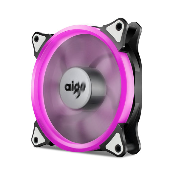 Aigo 120mm 12cm Halo Ring Pink LED Fan for Computer Cases, CPU Coolers and Radiators