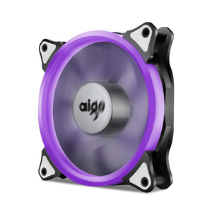 Aigo 120mm 12cm Halo Ring Purple LED Fan for Computer Cases, CPU Coolers and Radiators