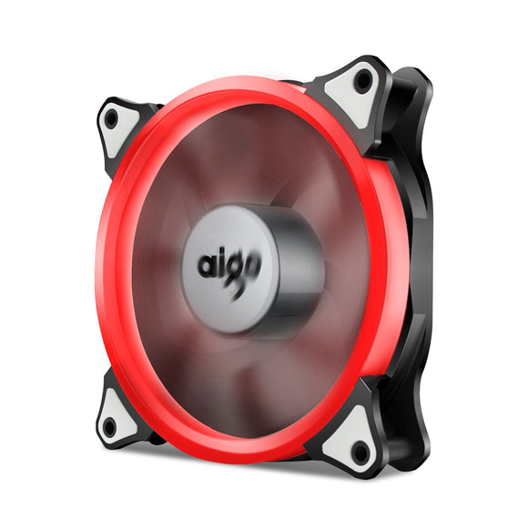 Aigo 120mm 12cm Halo Ring Red LED Fan for Computer Cases, CPU Coolers and Radiators