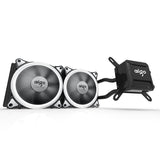 Aigo Water Liquid CPU Cooler T240 240mm Radiator Quiet Fan All-In-One with LED Halo Ring White Lights Compatible with Intel/AMD with AM4