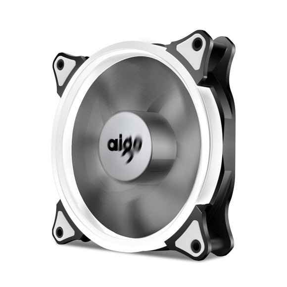 Aigo 120mm 12cm Halo Ring White LED Fan for Computer Cases, CPU Coolers and Radiators
