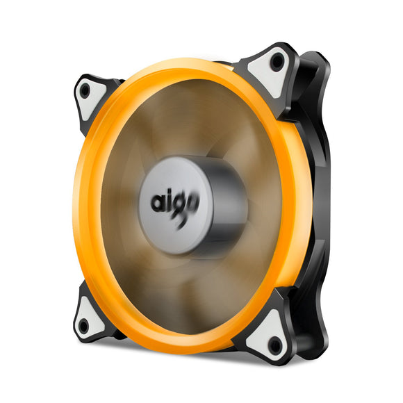 Aigo 120mm 12cm Halo Ring Orange LED Fan for Computer Cases, CPU Coolers and Radiators