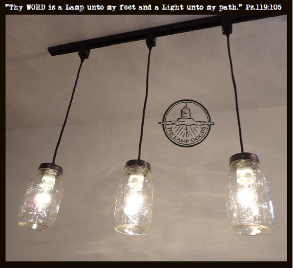 Mason Jar Track Lighting PENDANT Trio New Quart - The Lamp Goods