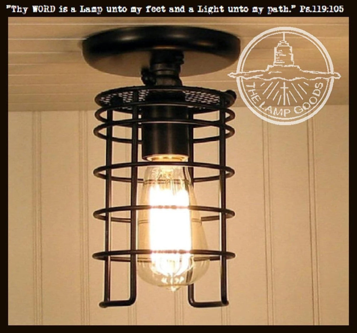 Industrial Inspired Auburn Ceiling LIGHT with Edison Bulb - The Lamp Goods