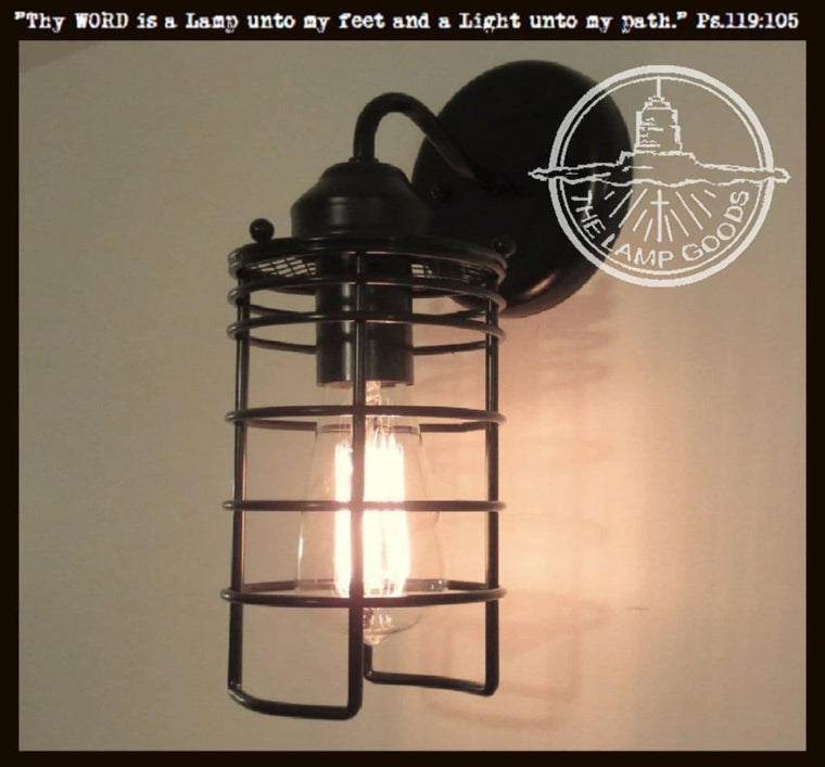 Industrial Auburn Wall Light with Edison Bulb - The Lamp Goods