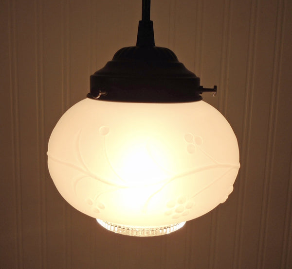 PENDANT Light of Frosted Vintage & Clear Glass