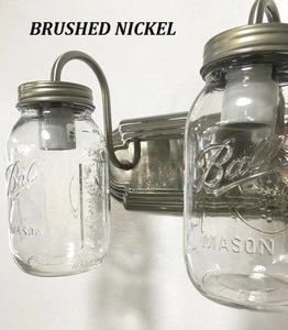 Mason Jar Vanity Light NEW Quart Trio - The Lamp Goods
