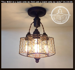 Chicken Wire Ceiling Light Trio - The Lamp Goods
