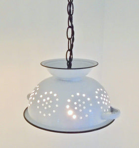 Farmhouse Enamel Colander Chandelier Lighting - The Lamp Goods