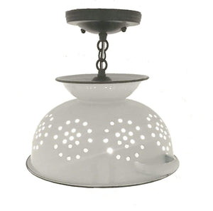 Colander Ceiling Lighting Fixture White Enamel - The Lamp Goods