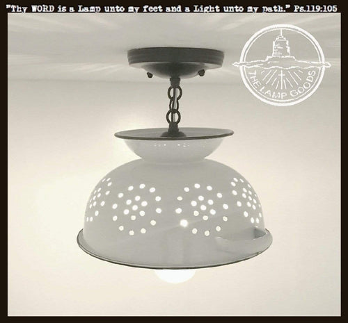 Farmhouse Colander Ceiling Lighting Fixture Enamel - The Lamp Goods